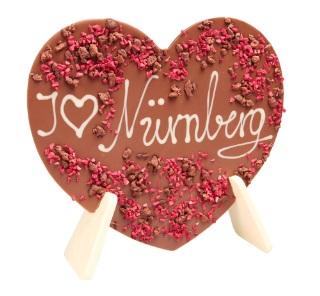 Aufstellherz aus Schokolade mit Beispiel-Schriftzug - I Love Nürnberg