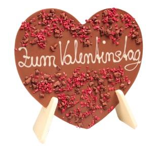 Aufstellherz aus Schokolade mit Beispiel-Schriftzug - Zum Valentinstag