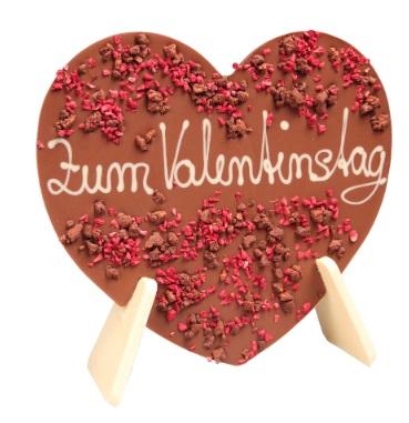 Schokoladenherz mit Dekor und Schriftzug