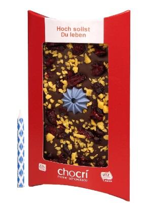 Schokoladentafel - Hoch sollst Du leben mit Kerze